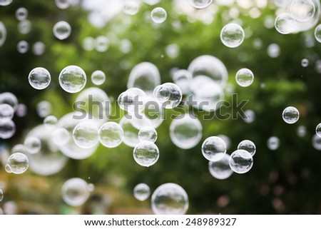 Movement bubbles floating in the air. - stock photo