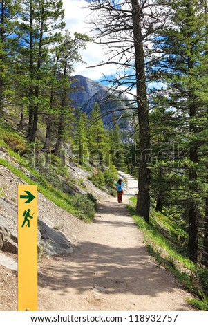Movement directional marker in nature reserve - stock photo