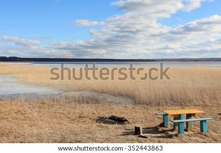 Movement of clouds over the river Vuoksi, Losevo village, Leningrad region, Russia - stock photo