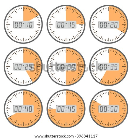 Movements and watches.  Set clock with the timer. A set of movements. Conceptual image of the clock. Time intervals. The length of time to perform business tasks. time clock - stock photo