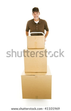 Mover or delivery man hauling a stack of boxes on his dolly.  Full body isolated. - stock photo