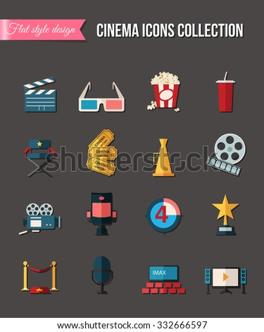 Movie and film icons set. Glasses, reel, tickets. Flat style design - stock photo