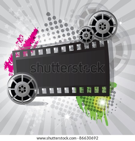 Movie background with film reel and film strip, raster - stock photo