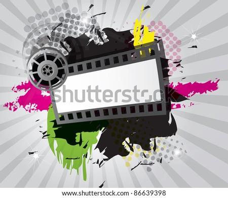 Movie background with film strip, raster - stock photo