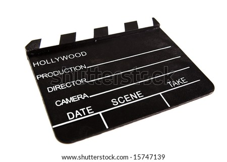 movie clapboard used by movie directors over white background - stock photo