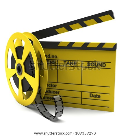 Movie clapper and film strip on a white background - stock photo