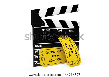 Movie clapper board and admit one tickets on a white background - stock photo
