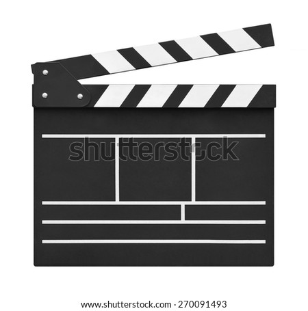 Movie clapper board on white background - stock photo
