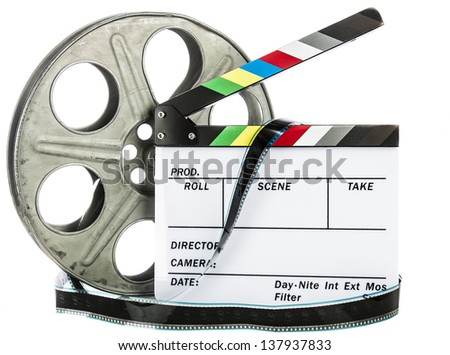 Movie Clapper Board with film reel on white background - stock photo