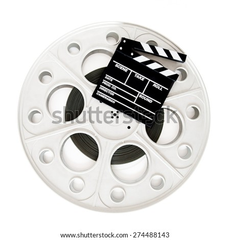 Movie clapper on 35 mm cinema film reel isolated on white background square frame - stock photo