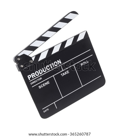 Movie clapper on white background - stock photo