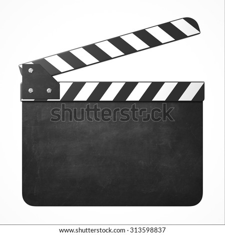 movie clapper with copy space - stock photo