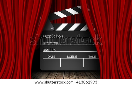 Movie clapperboard on a red background with a folds - stock photo