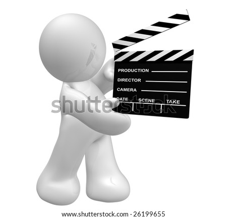 Movie crew icon figure holding a scene clap board - stock photo