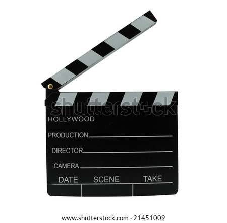 Movie director clapboard isolated on white - stock photo