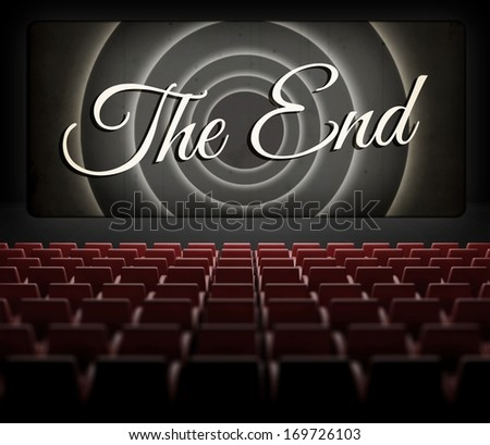 Movie ending screen in old retro cinema, view from audience - stock photo