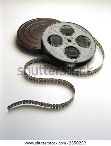 Movie Film on reels unwinding - stock photo