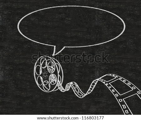 movie film roll with talk bubble abstract written on blackboard background collection set. - stock photo