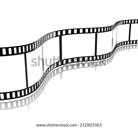 Movie Film Stripe Template on White Background 3D Illustration - stock photo