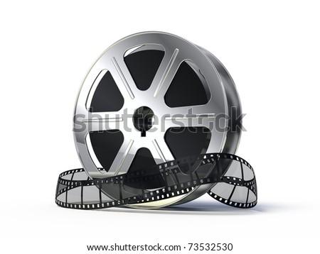 Movie films spool with film - stock photo