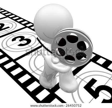 Movie icon figure with film roll and count down reel - stock photo