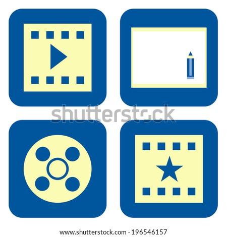 Movie icon set - stock photo