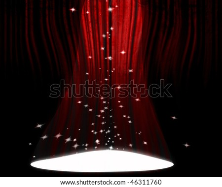 Movie or theater curtain with a bright spotlight on it - stock photo