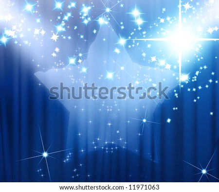 Movie or theatre curtain with added starlight - stock photo