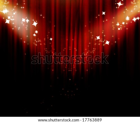 Movie or theatre curtain with some glitters on it - stock photo