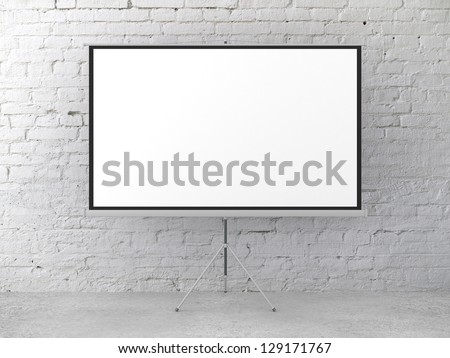 movie screen in brick room - stock photo