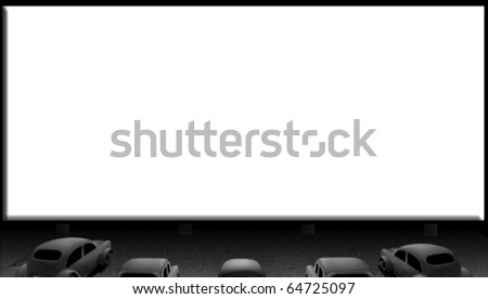 Movie screen waiting for a clip on night - stock photo