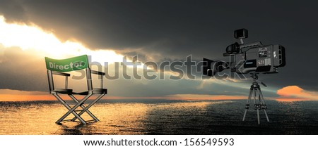 movie set on a sunset - stock photo