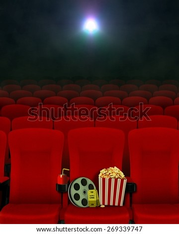 Movie show in cinema and seats - stock photo