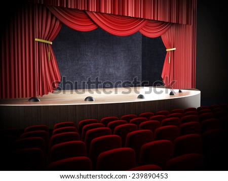 Movie theater with open curtains. - stock photo