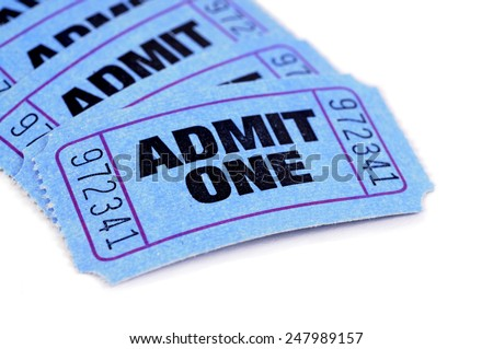 Movie ticket : blue admit one tickets isolated on white. - stock photo