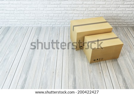 moving boxes at a new home, 3d rendering - stock photo