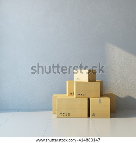 moving boxes at a new office, 3d rendering - stock photo