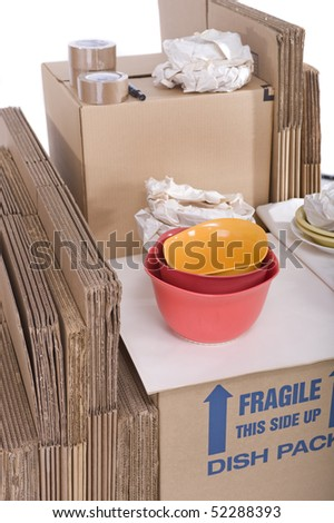 Moving boxes isolated on white background - stock photo