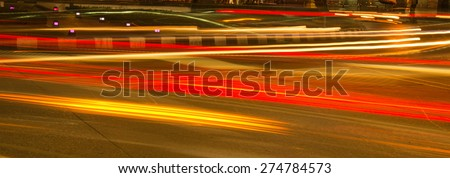 moving car with blur light at night. - stock photo