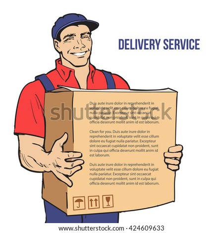 Moving Companies. Shipping. Happy loader stands with box. illustration. Move house service. Transportation of things. Delivery of goods. Box. Carrier with a box isolated. Transportation package - stock photo