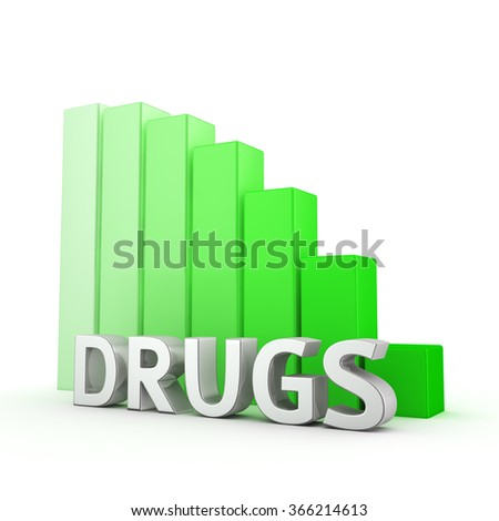 Moving down green bar graph of Drugs on white. Reducing drugs use. - stock photo