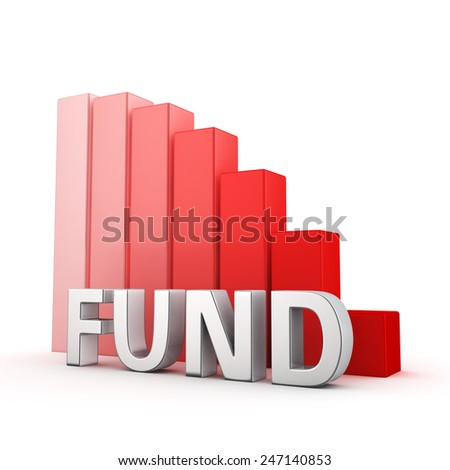 Moving down red bar graph of Fund on white. Recession and crisis concept. - stock photo