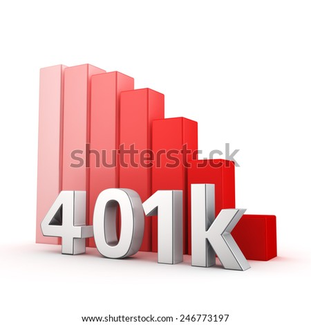 Moving down red bar graph of 401k on white. Recession and crisis concept. - stock photo