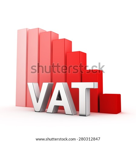 Moving down red bar graph of VAT on white. Tax decrease concept. - stock photo