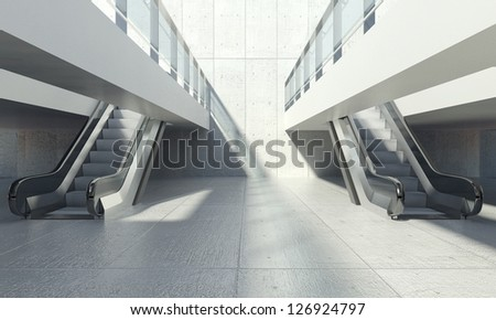 Moving escalator stairs and interior of modern office building - stock photo