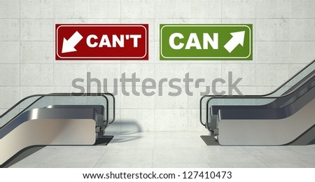 Moving escalator stairs, can can't conception - stock photo