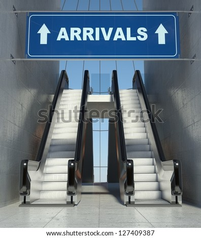 Moving escalator stairs in modern airport, arrivals sign - stock photo
