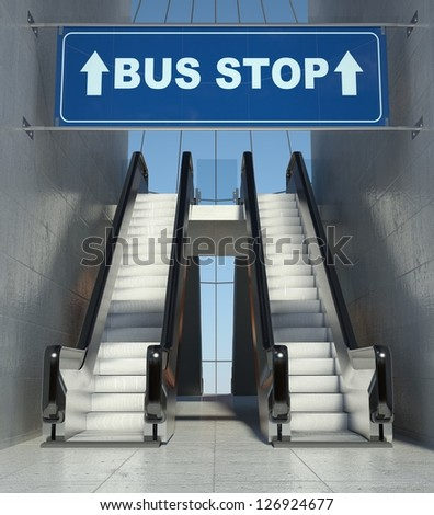 Moving escalator stairs in modern building, bus stop sign - stock photo