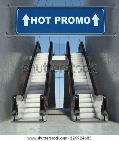 Moving escalator stairs in modern mall, hot promo sign - stock photo