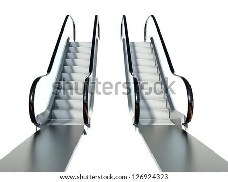 Moving escalator stairs isolated on white background - stock photo